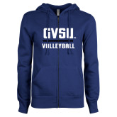 ENZA Ladies Royal Fleece Full Zip Hoodie-GVSU Volleyball