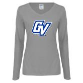 Ladies Grey Long Sleeve V Neck Tee-GV