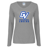 Ladies Grey Long Sleeve V Neck Tee-GV Lakers Stacked