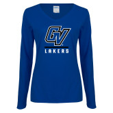 Ladies Royal Long Sleeve V Neck Tee-GV Lakers Stacked