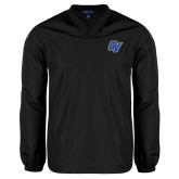 V Neck Black Raglan Windshirt-GV