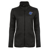 Black Heather Ladies Fleece Jacket-GV