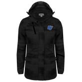 Ladies Black Brushstroke Print Insulated Jacket-GV