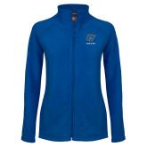 Ladies Fleece Full Zip Royal Jacket-GV Lakers Stacked