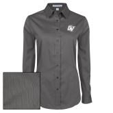Ladies Grey Tonal Pattern Long Sleeve Shirt-GV