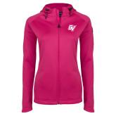 Ladies Tech Fleece Full Zip Hot Pink Hooded Jacket-GV