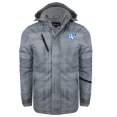 Grey Brushstroke Print Insulated Jacket-GV