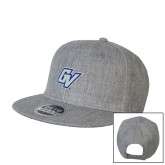 Heather Grey Wool Blend Flat Bill Snapback Hat-GV
