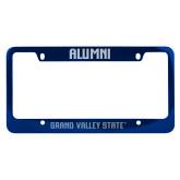 Alumni Metal Blue License Plate Frame-H - Glitter Dark Blue Engraved