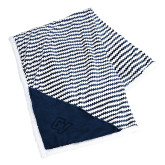 Field & Co Luxurious Navy Chevron Striped Sherpa Blanket-GV Engraved