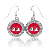 Crystal Studded Round Pendant Silver Dangle Earrings-Bulldog