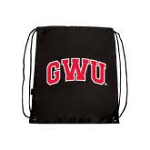 Black Drawstring Backpack-Arched GWU