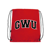 Red Drawstring Backpack-Arched GWU