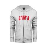 ENZA Ladies White Fleece Full Zip Hoodie-Arched GWU Foil