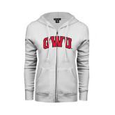 ENZA Ladies White Fleece Full Zip Hoodie-Arched GWU