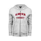 ENZA Ladies White Fleece Full Zip Hoodie-Arched Gardner-Webb University
