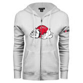 ENZA Ladies White Fleece Full Zip Hoodie-Bulldog