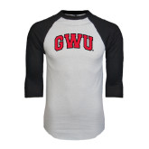 White/Black Raglan Baseball T-Shirt-Arched GWU