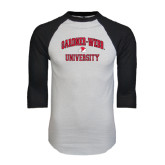 White/Black Raglan Baseball T-Shirt-Arched Gardner-Webb University