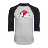 White/Black Raglan Baseball T-Shirt-Bulldog
