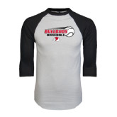 White/Black Raglan Baseball T-Shirt-Baseball Stacked w/ Flying Ball