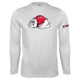 Performance White Longsleeve Shirt-Bulldog