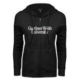 ENZA Ladies Black Fleece Full Zip Hoodie-Gardner-Webb University