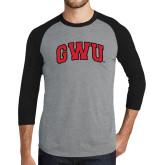 Grey/Black Tri Blend Baseball Raglan-Arched GWU