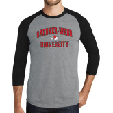 Grey/Black Tri Blend Baseball Raglan-Arched Gardner-Webb University