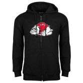 Black Fleece Full Zip Hoodie-Bulldog