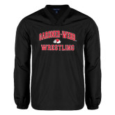 V Neck Black Raglan Windshirt-Wrestling
