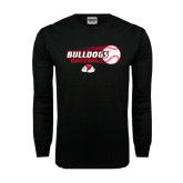 Black Long Sleeve TShirt-Baseball Stacked w/ Flying Ball