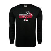 Black Long Sleeve TShirt-Soccer w/ Swoosh and Ball