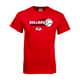 Red T Shirt-Baseball Stacked w/ Flying Ball
