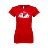 Next Level Ladies SoftStyle Junior Fitted Red Tee-Bulldog