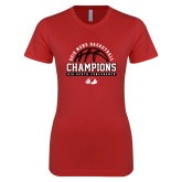 Next Level Ladies SoftStyle Junior Fitted Red Tee-2019 Mens Basketball Chmapions