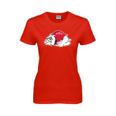 Ladies Red T Shirt-Bulldog Distressed