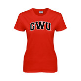 Ladies Red T Shirt-Arched GWU