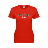 Ladies Red T Shirt-Arched Bulldogs