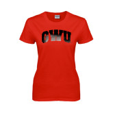 Ladies Red T Shirt-Arched GWU Foil