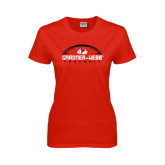 Ladies Red T Shirt-Football Horizontal w/ Ball