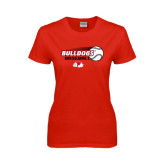 Ladies Red T Shirt-Baseball Stacked w/ Flying Ball