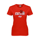 Ladies Red T Shirt-Soccer w/ Swoosh and Ball