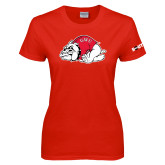 Ladies Red T Shirt-Bulldog