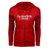 ENZA Ladies Red Fleece Full Zip Hoodie-Gardner-Webb University