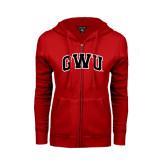 ENZA Ladies Red Fleece Full Zip Hoodie-Arched GWU