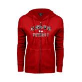 ENZA Ladies Red Fleece Full Zip Hoodie-Arched Gardner-Webb University