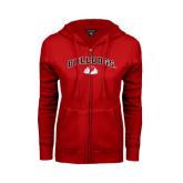 ENZA Ladies Red Fleece Full Zip Hoodie-Arched Bulldogs