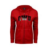 ENZA Ladies Red Fleece Full Zip Hoodie-Arched GWU Foil