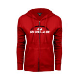 ENZA Ladies Red Fleece Full Zip Hoodie-Football Horizontal w/ Ball